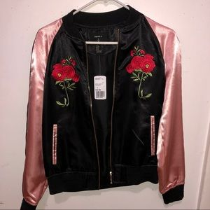 *NEW* F21 Satin Embroidered Bomber Jacket